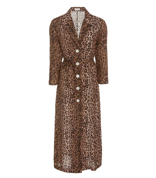 Rixo Sienna Cheetah-Print Midi Shirt Dress