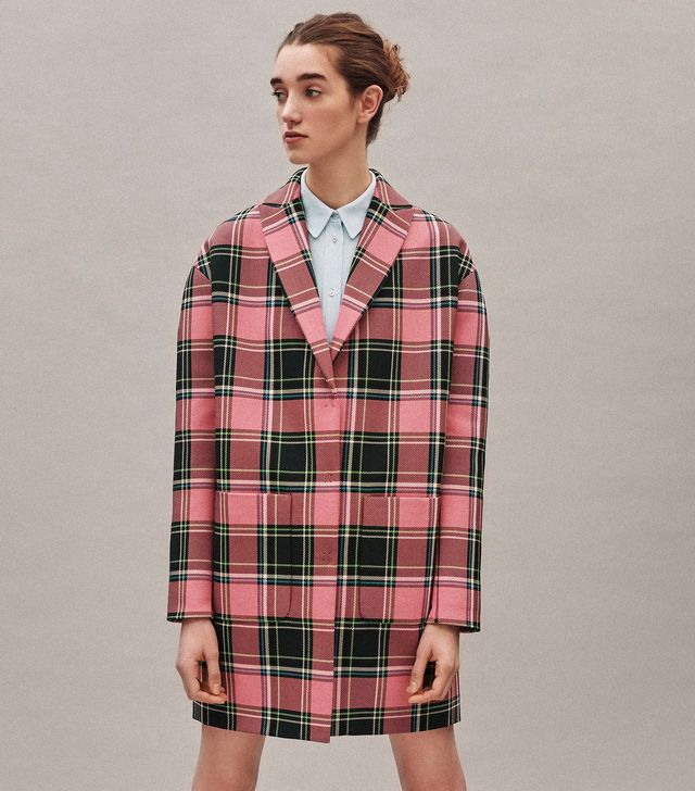 Delpozo Oversized Plaid Tweed Jacket