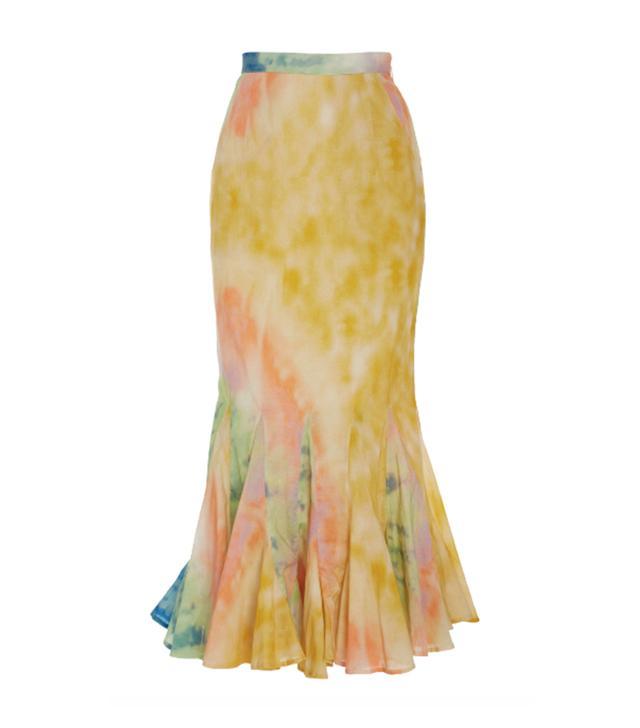 Rhode Resort Sienna Pleated Tie-Dye Cotton Midi Skirt