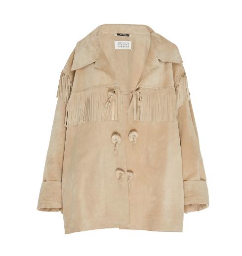 Maison Margiela Fringe-Detailed Suede Sports Jacket