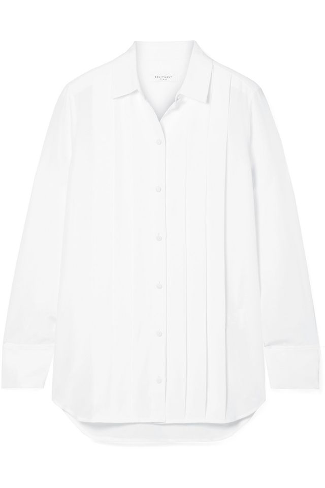 Equiptment Jack Pleated Washed-Silk Shirt