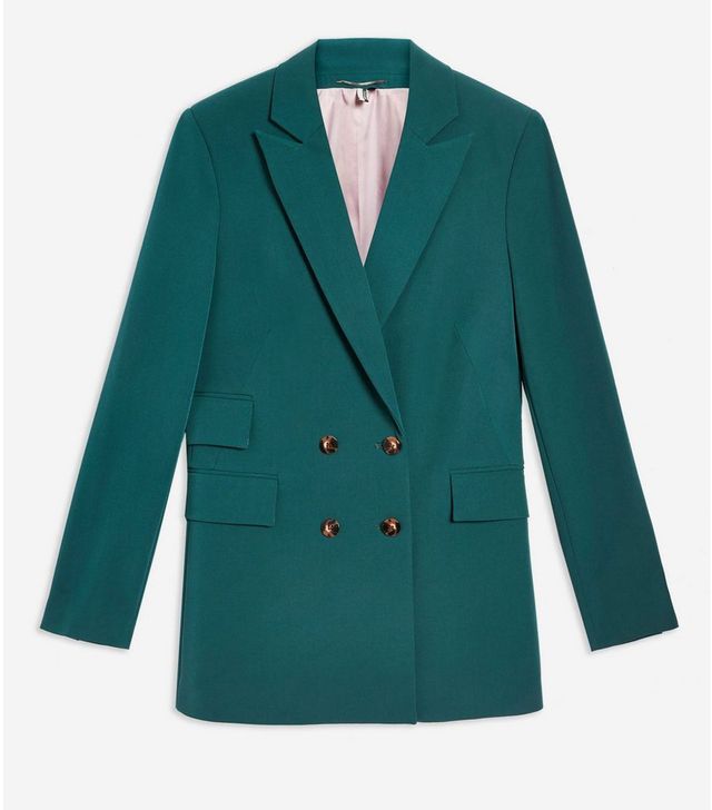 Topshop Longline Double Breasted Blazer