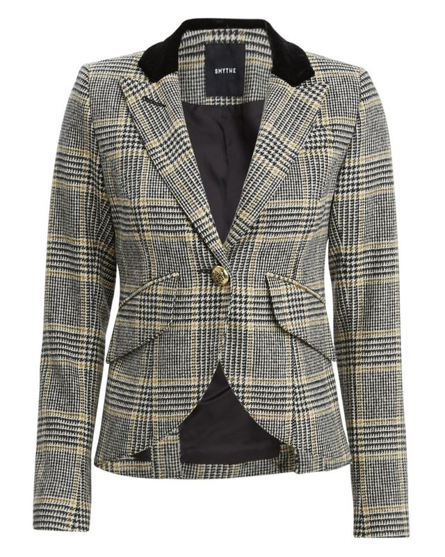 Smythe Smythe Check Print Single Button Blazer Black/Gold Check Print 6
