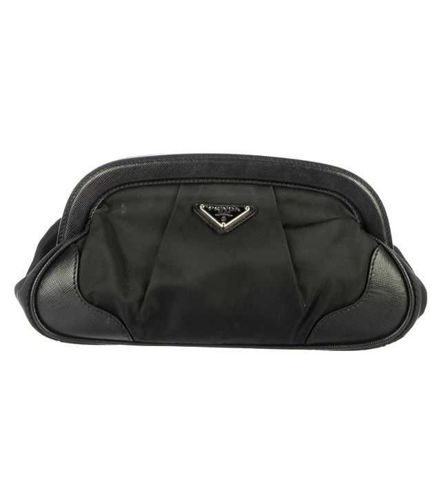 Prada Leather-Trimmed Tessuto Pouch