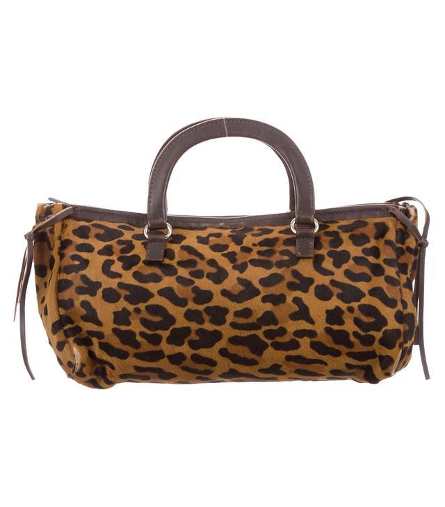 Prada Leather-Trimmed Ponyhair Bag