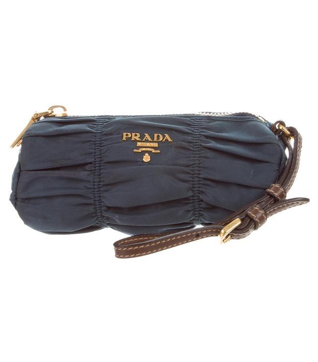 Prada Leather-Trimmed Tessuto Wristlet