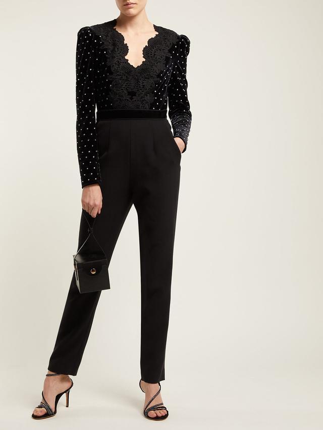 Self-Portrait Crystal-Embellished Velvet Jumpsuit