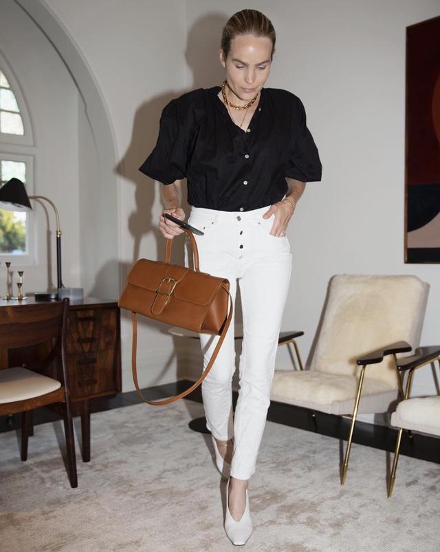 Business casual ensemble with white jeans