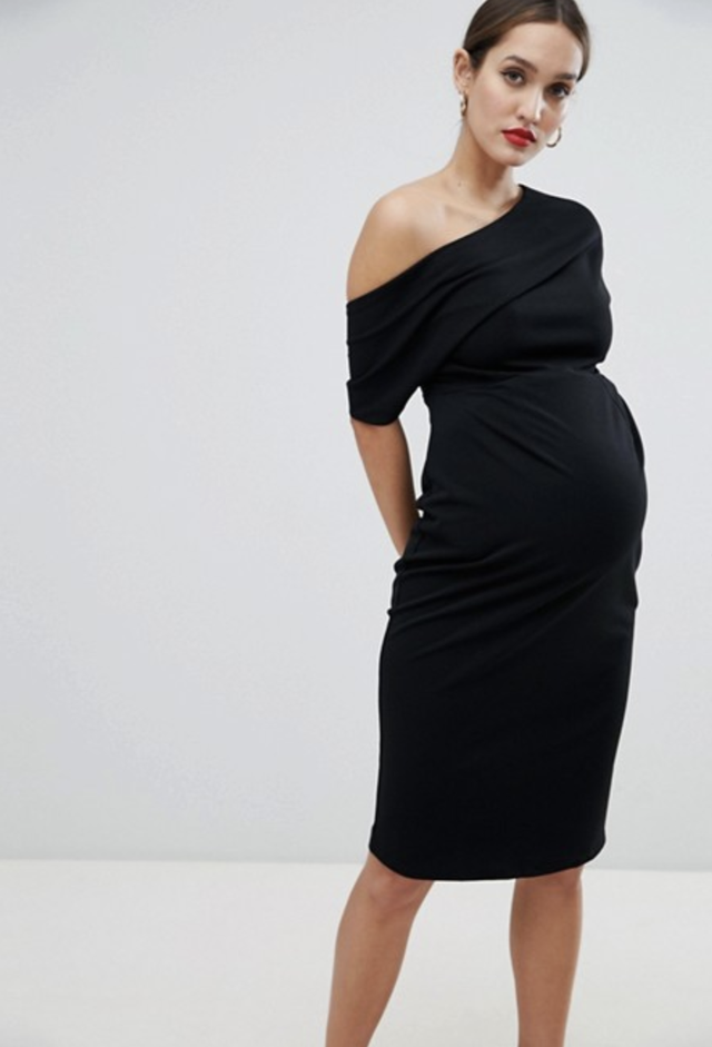 ASOS Maternity Pleated Shoulder Pencil Dress