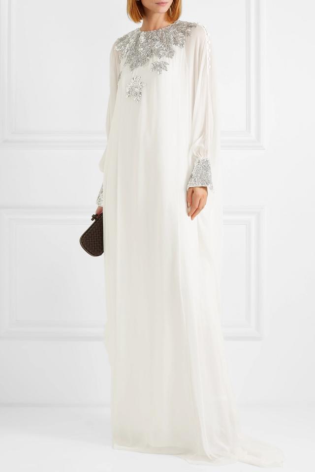 Oscar de la Renta Sequined Silk Chiffon Gown