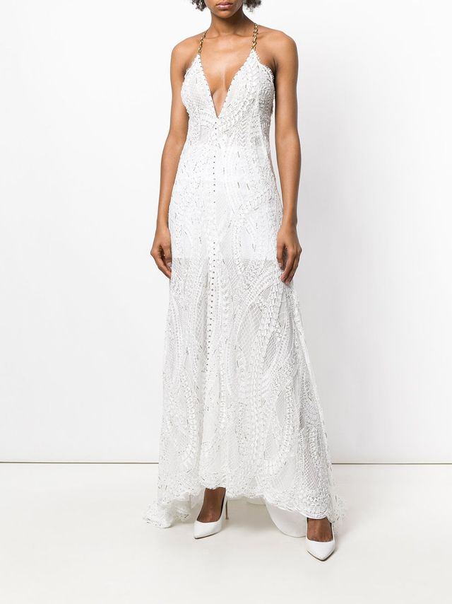 Alessandra Rich Embroidered Plunge Dress