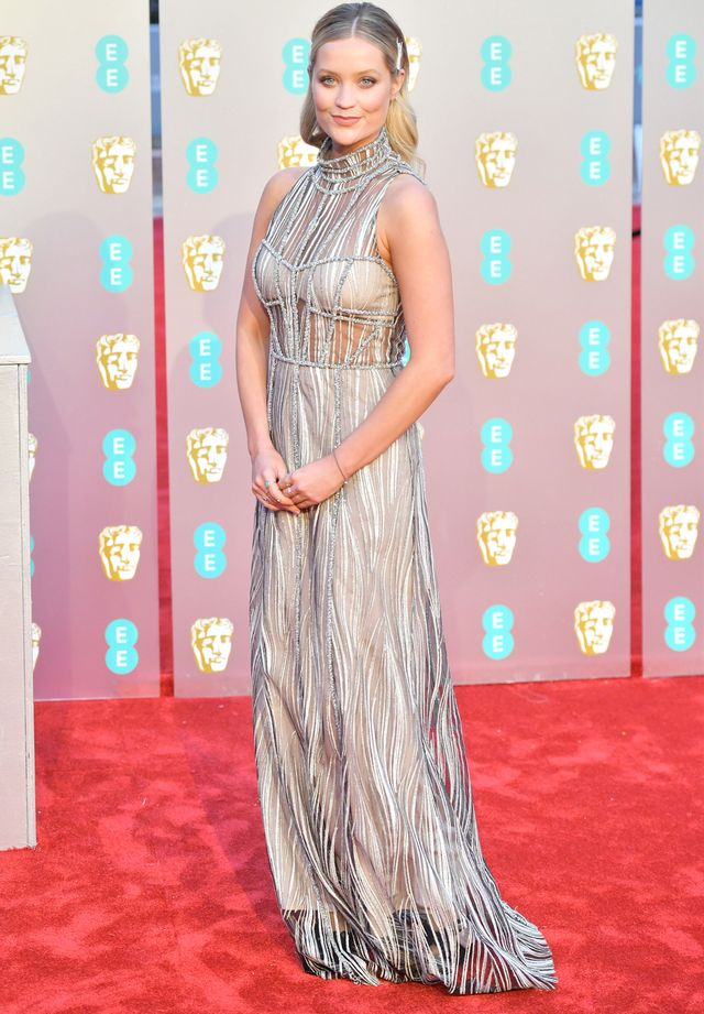 Baftas red carpet 2019: Laura Whitmore in silver gown with hair clip
