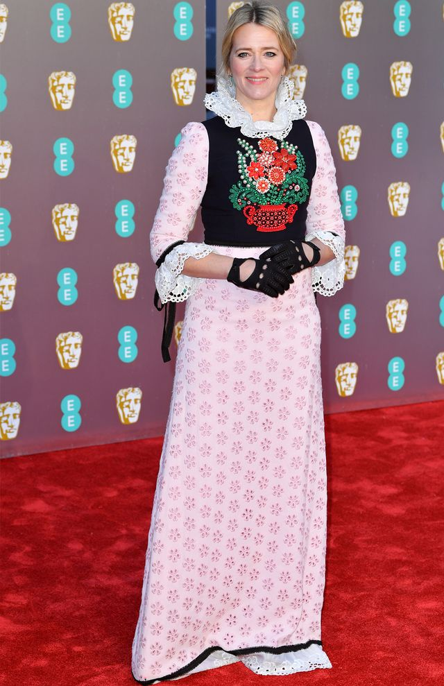Baftas red carpet 2019: Edith Bowman in white lace dress and black gloves