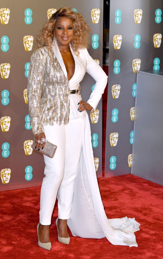 Baftas red carpet 2019: Mary J Blige in white trouser suit and silver sequins