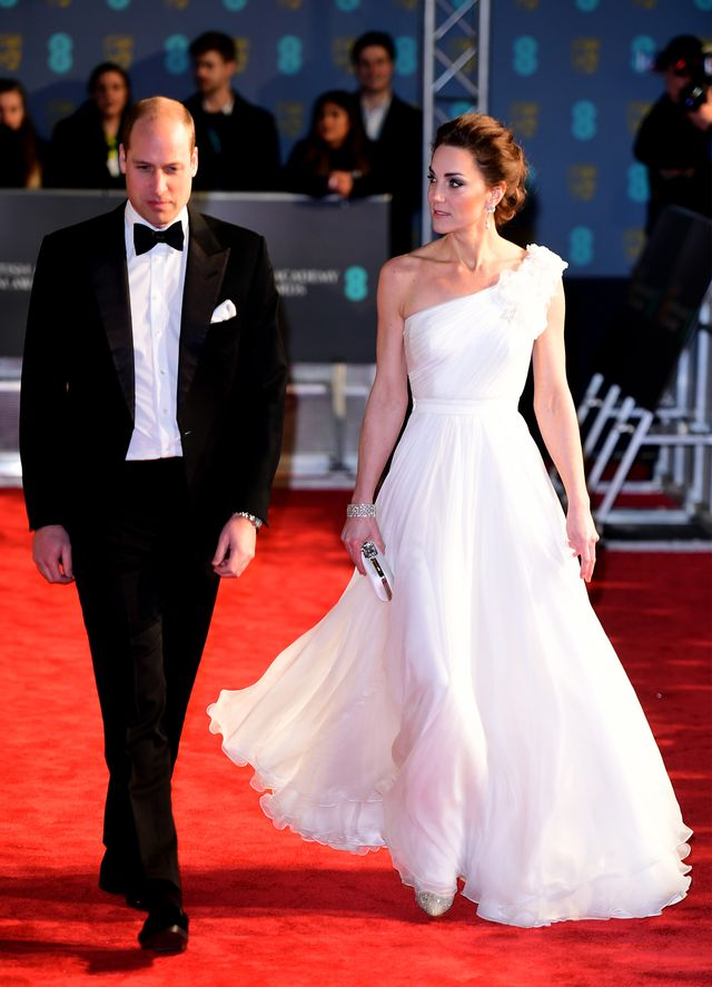 Baftas red carpet 2019: Kate Middleton in white one-shoulder gown and Prince William