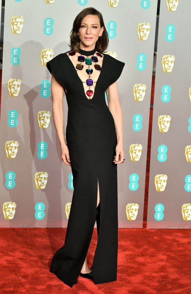 Baftas red carpet 2019: Cate Blanchett black gown with jewels on neckline