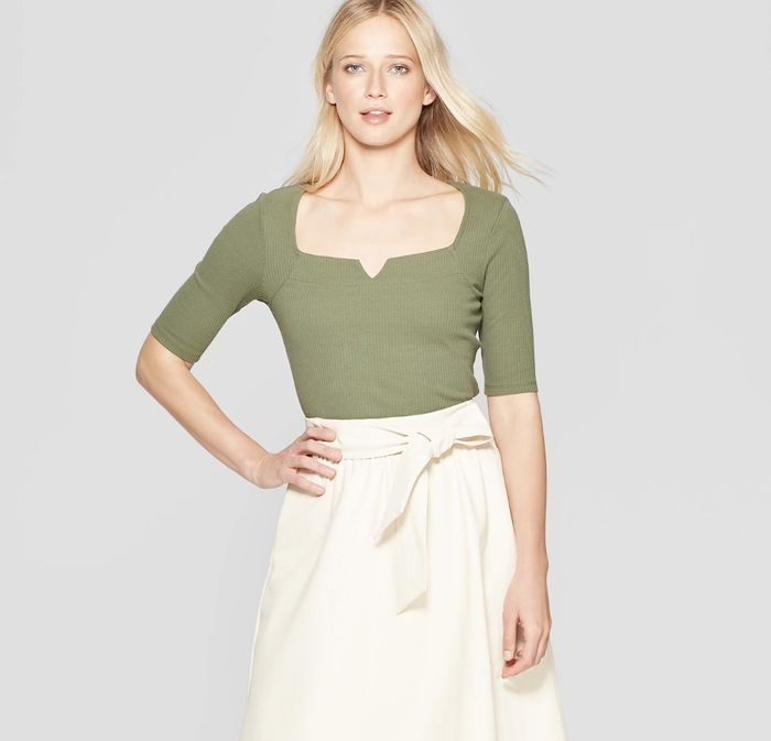 9e14b9455203fc Pinterest · Shop · Who What Wear Elbow Sleeve Boat Neck Knotched Rib Top ...