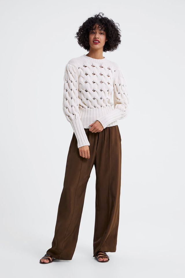 Zara Cable Knit Sweater With Balloon Sleeves