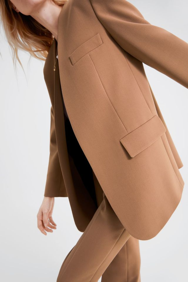 Zara Blazer With Flap Pockets