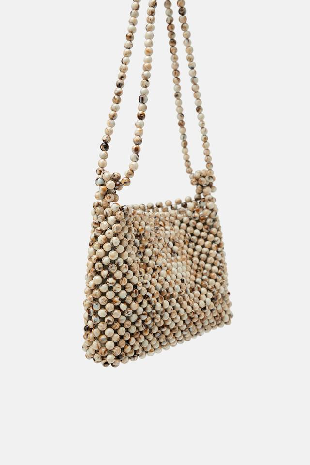 Zara Beaded Natural Crossbody Bag