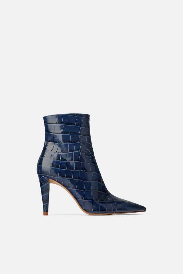 Zara Snakeskin Print Heeled Leather Ankle Boots