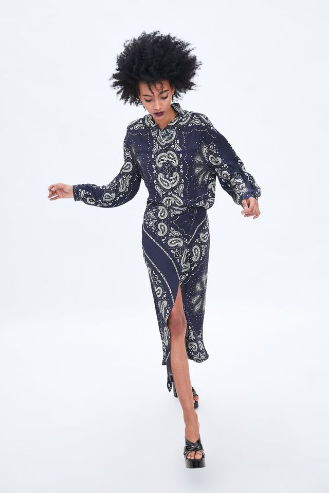 Zara Printed Wrap Skirt