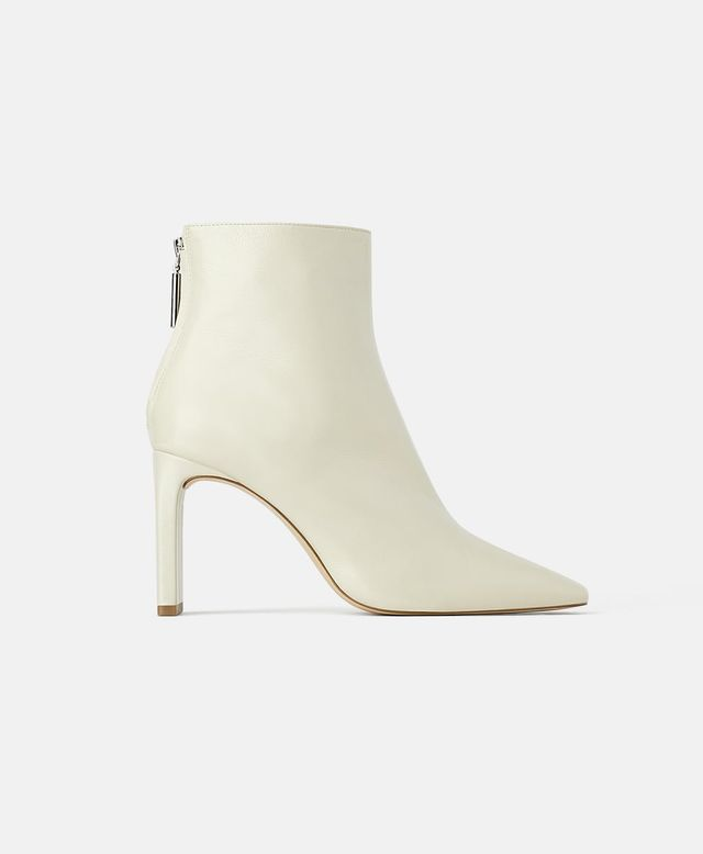 Zara Wide-Heeled Leather Ankle Boots