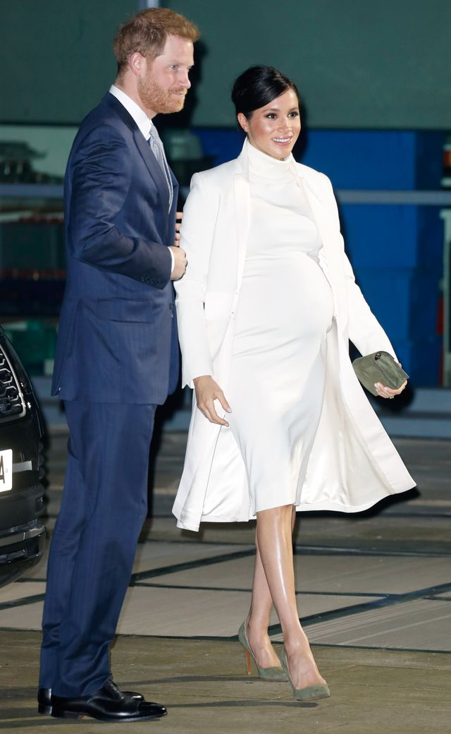 <p><strong>On Meghan Markle:</strong> Amanda Wakeley coat; Calvin Klein dress; Ralph Lauren shoes and bag</p>