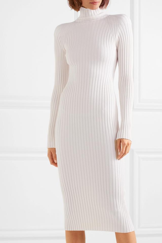 Haider Ackerman Ribbed Wool and Silk-Blend Turtleneck Midi Dress