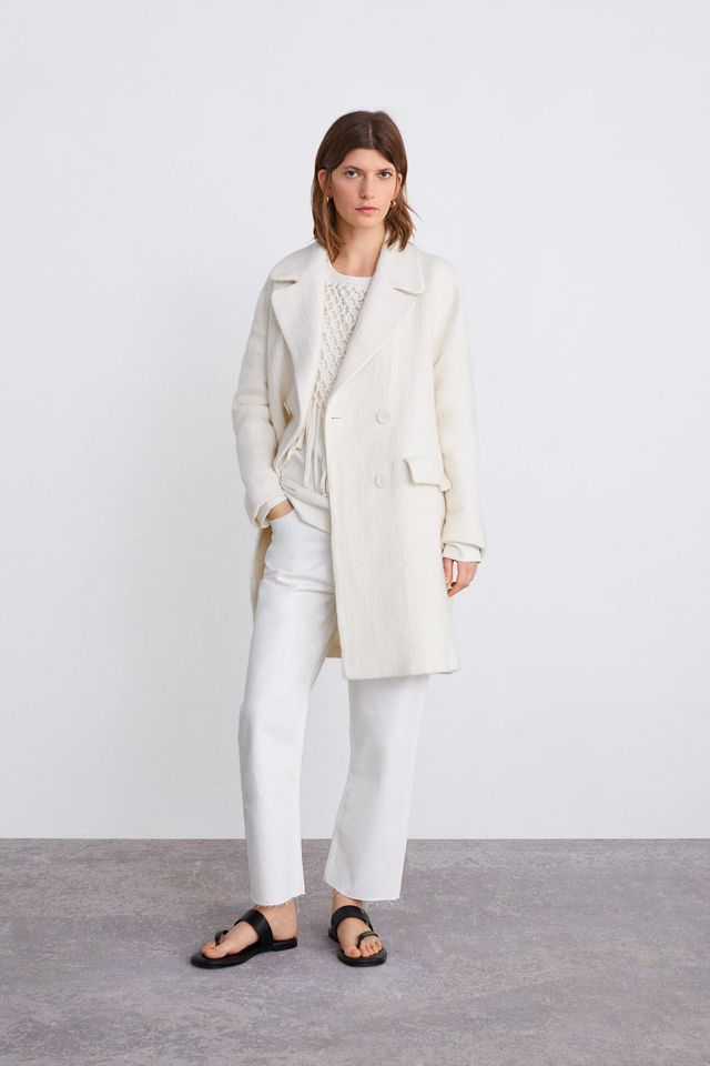 Zara Double-Breasted Coat With Pockets