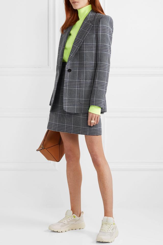 Acne Studios Ivonne Checked Cotton-Blend Wrap Mini Skirt