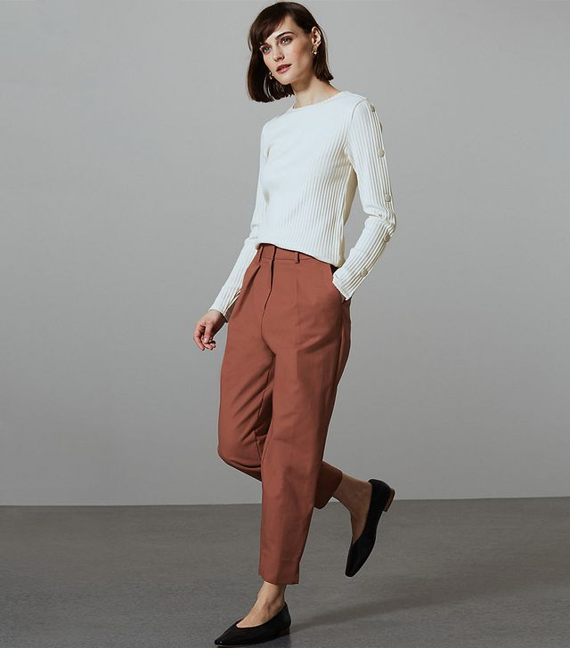 Marks & Spencer Cotton Rich Tapered Leg Peg Trousers