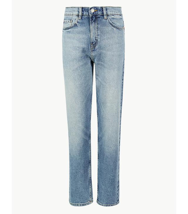 Marks & Spencer High Waist Straight Leg Ankle Grazer Jeans