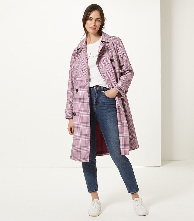 Marks & Spencer Checked Double Breasted Trench Coat