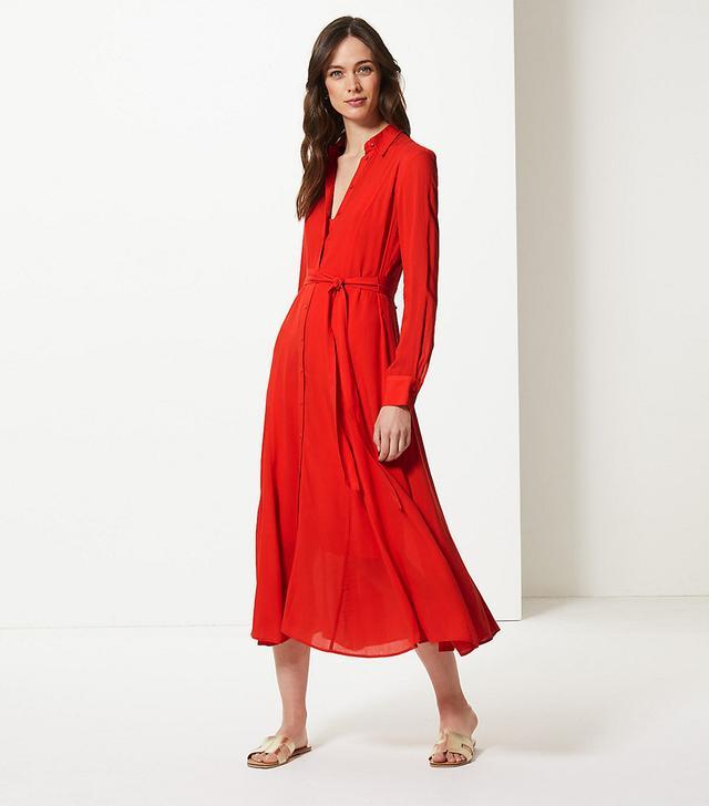 Marks & Spencer Long Sleeve Shirt Midi Dress