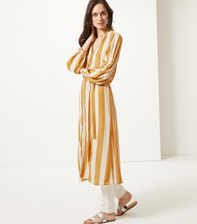 Marks & Spencer Striped Long Sleeve Shirt Midi Dress