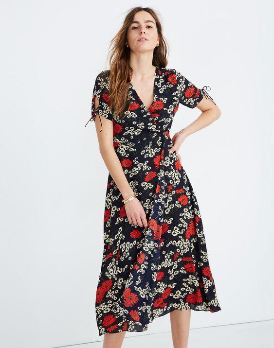 Madewell Peekaboo Sleeve Midi Dress in Hillside Daisy