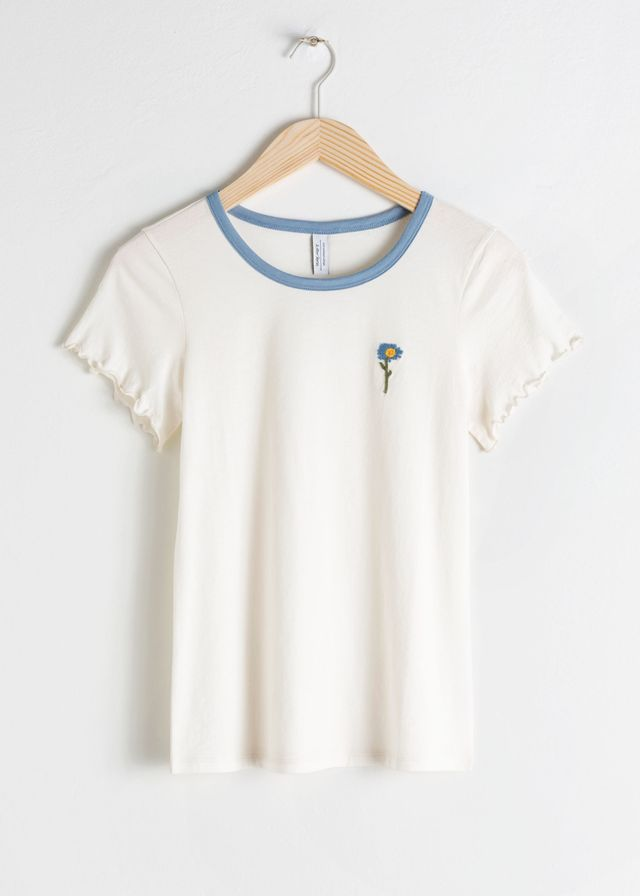 & Other Stories Embroidered Organic Cotton Tee