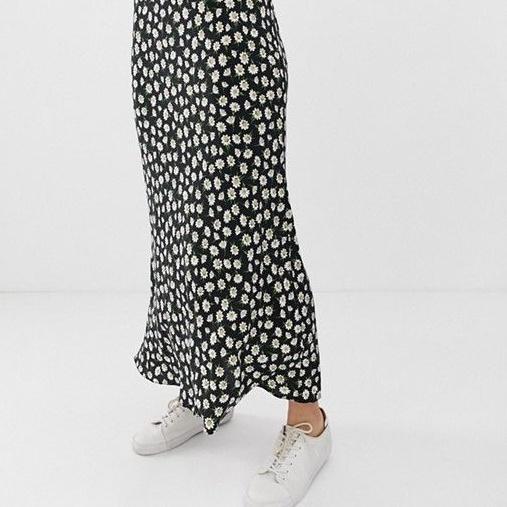 ASOS Design Petite Daisy Print Bias-Cut Maxi Skirt