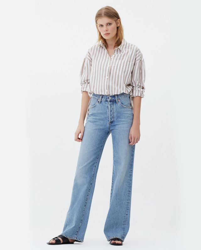 Citizens of Humanity Annina High Rise Wide Leg Jeans  in Blue Mirage