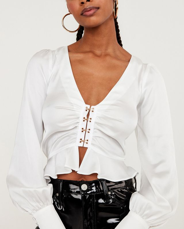 For Love and Lemons Isabella Ruched Top in White