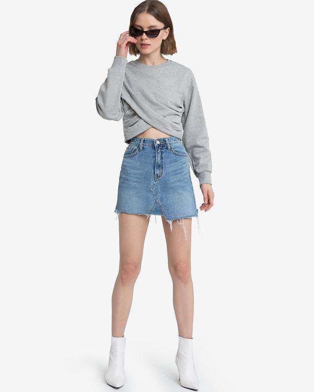Pixie Market Juna Grey Wrap Crop Sweater