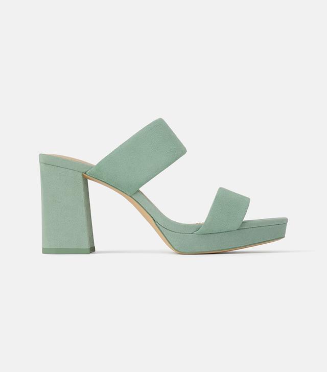 Zara Platform Heeled Leather Sandals