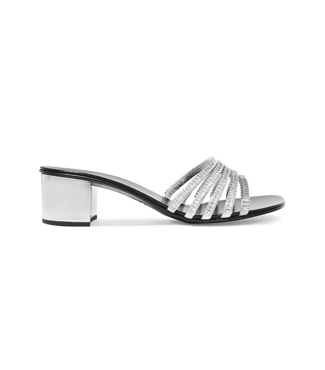 Giuseppe Zanotti Roll Crystal-Embellished Metallic Leather Mules