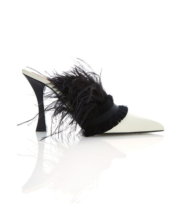 Tabitha Simmons for Brock Collection Feather-Embellished Leather Mules