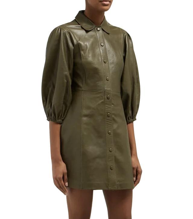 Ganni Mernati Puffed-Sleeve Leather Derss