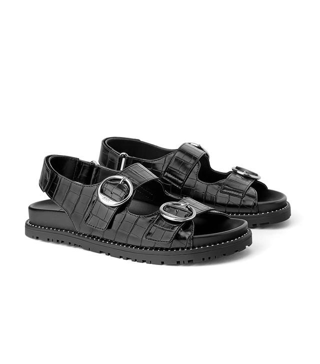 Zara Animal Embossed Buckled Flat Sandals