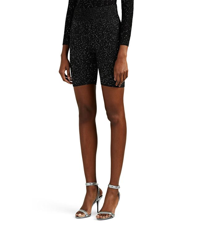 Area Sequined Silk-Blend Knit Bike Shorts