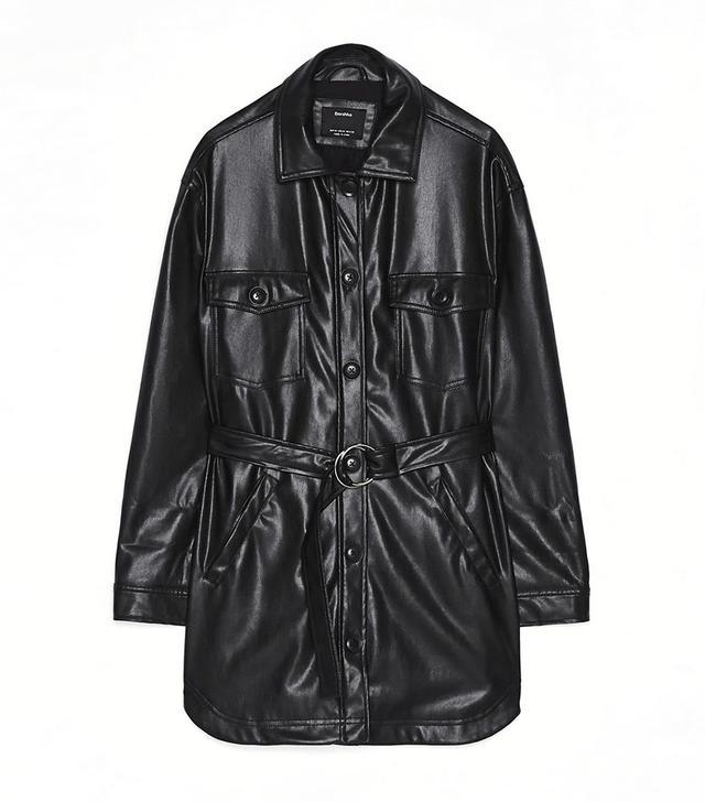 Bershka Faux Leather Overshirt