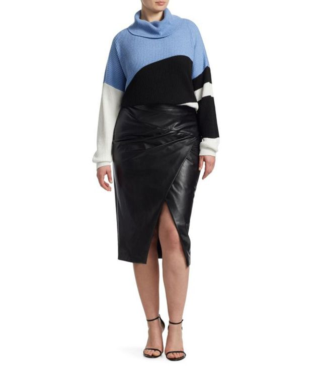 Ashley Graham x Marina Rinaldi Faux-Leather Pencil Skirt